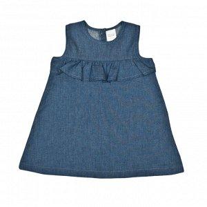 """Платье Коллекция """"Батист"""". Состав: 100% хлопок, батист, синяя джинса.  Размеры: 80-98."""