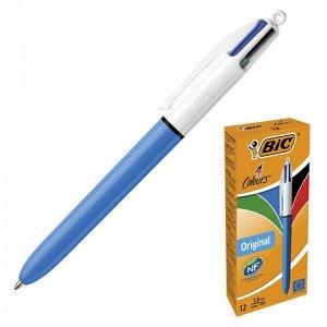 """Ручка шариковая автоматическая BIC """"4 Colours Original"""", 4 цвета (синий, черный, красный, зеленый), линия письма 0,32 мм, 889969"""