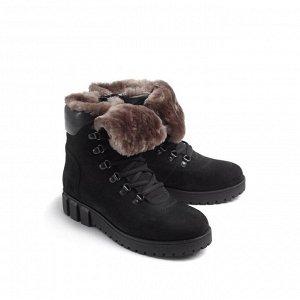Ботинки зимние женские, черный нубук