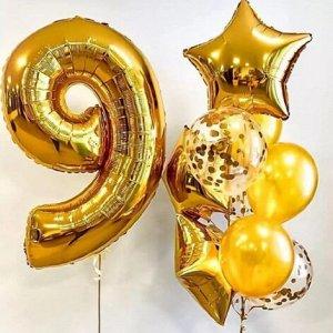 """Набор воздушных шаров с цифрой """"9"""""""