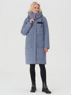 Пальто серо-голубой/красный S-XXL