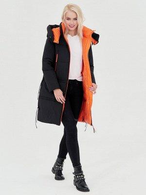 Пальто черный/оранжевый S-L