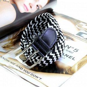 Женский текстильный плетеный ремень-резинка Charlotta мультиколор, длина 103 см.