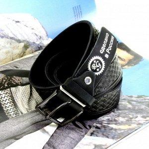 Батал. Ремень мужской классический Liners из натуральной кожи с тиснением черного цвета. Длина 164 см.