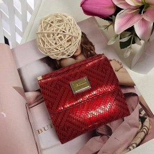 Миниатюрный женский кошелек LasFernando двойного сложения из натуральной кожи с лазерной обраткой красно-клубничного цвета.