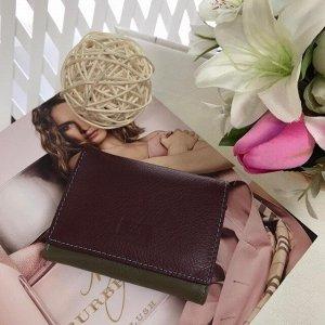 Функциональный женский кошелек SoMuchSH тройного сложения, комбинированный разными цветами из натуральной кожи.