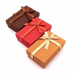 Коробочка подарочная с бантиком 2,5см-5см-8см бумага бархат