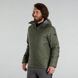 Куртка для треккинга в горах с капюшоном до –5°C мужской хаки TREK 100 FORCLAZ