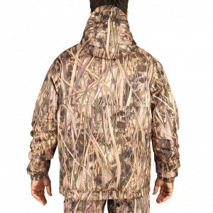 Теплая ветрозащитная куртка муж. для охоты с болотным камуфляжем 100 SOLOGNAC