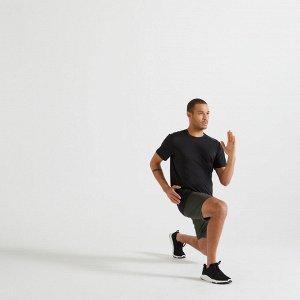 Футболка для фитнеса мужская эластичная 100 черная DOMYOS