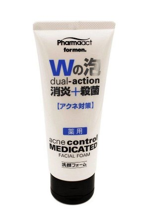 JP/ Pharmaact Men's Anti-inflam + Sterilization Medicated Facial Cleansing Foam Пенка для умывания мужская против акне, 130гр