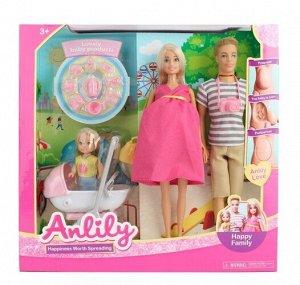 """Набор """"Счастливая семья"""" (кукла беременная, муж, ребенок, асксесс). кор."""