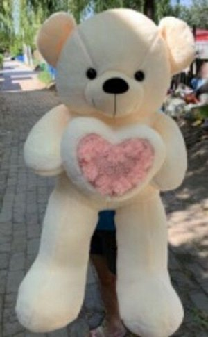 Мягкая игрушка Медведь с цветочным сердечком 80см, в ассорт.