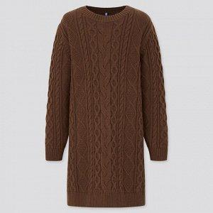 Десткое теплое платье, темно-коричневый