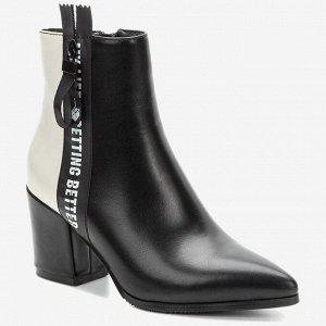 908041/06-03 черный/белый иск.кожа женские ботинки