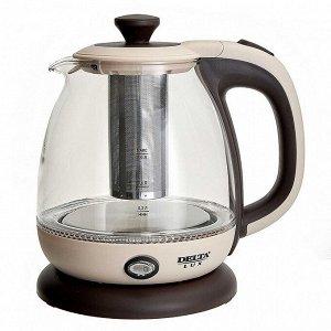 Чайник электрический 1100 Вт, 1 л DELTA LUX DE-1005 бежевый, фильтр для чая, функция поддержания температуры