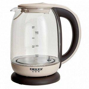 Чайник электрический 2200 Вт, 1,7 л DELTA LUX DE-1003 бежевый, функция установки температур с LED-индикацией разными цветами, поддержание температуры