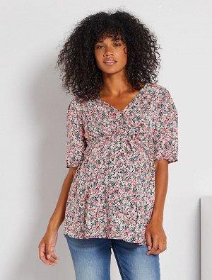 Блузка в цветочек для беременных