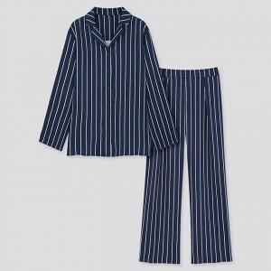 Атласная пижама из вискозы в полоску, с длинными рукавами, синий