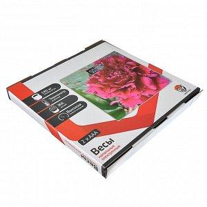 """Весы напольные электронные """"Цветы"""", ЖК-дисплей, макс. нагр.до 180кг, 28х28х0,5см"""