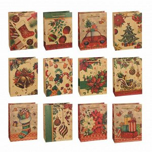 СНОУ БУМ Пакет подарочный бумажный, крафт с рисунком, 18х24х8,5см, 12 дизайнов, арт.2021-17