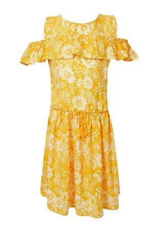 Платье желтое в цветочек