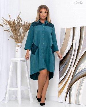 Платье рубашка Измит-1  (изумрудный)