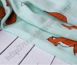 Муслиновая пеленка Лисичка на бирюзовом (бамбук-хлопок)