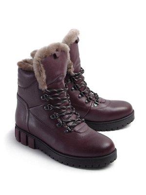 Ботинки зимние женские, бордовая кожа