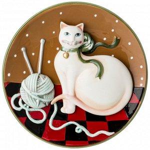 Панно настенное 'кошка' диаметр=21 см. высота=3,5 см. (кор=24шт.)