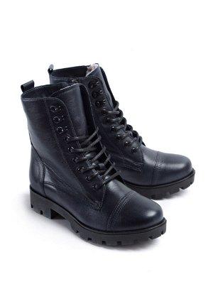 Ботинки зимние женские, синяя кожа