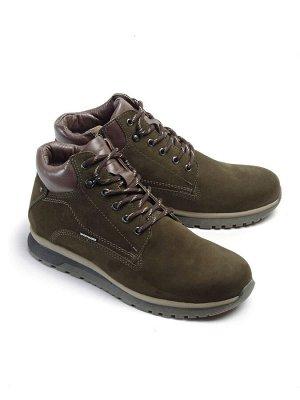Ботинки зимние мужские, хаки нубук