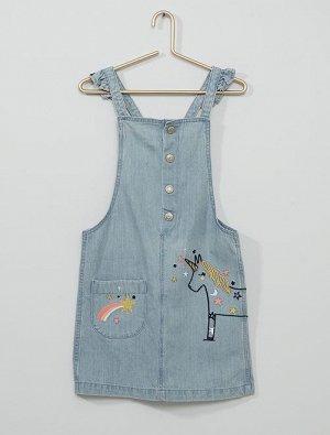 Джинсовое платье-комбинезон 'единорог'