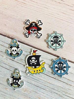 Декоративные пуговицы Пиратские набор 6 шт микс