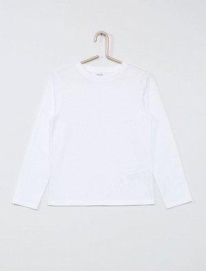 Однотонная футболка с длинными рукавами