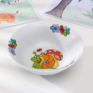 Набор детской посуды Доляна «Улиточка», 3 предмета: кружка 230 мл, миска 400 мл, тарелка 18 см