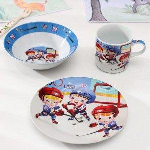 Набор детской посуды Доляна «Хоккеисты», 3 предмета: кружка 220 мл, миска 400 мл, тарелка 18 см