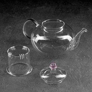 Чайник заварочный «Валенсия с розой», 800 мл, со стеклянным ситом