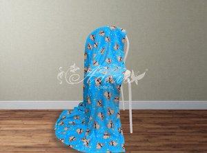 Мишки с гитарой(голубой)  Плед велсофт 100*140