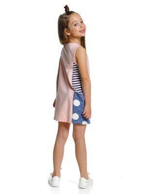 Платье (98-122см) UD 1408 син/роз