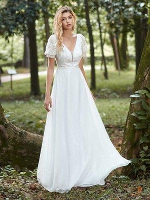 Лаконичное элегантное белое свадебное платье  с кружевом