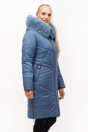Зимний пуховик с меховой отделкой Код: 153 синий песец