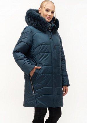 Женский модный пуховик большие размеры Украина Код: 154 малахит. Песец
