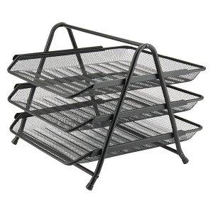 Лоток горизонтальный металлический Axent 2122-01-A, 350х295х263 мм, 3-в-1, черный