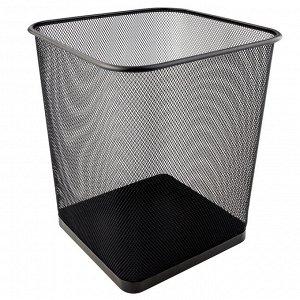 Корзина для бумаг квадратная Axent 2124-01-A, металлическая сеточка, черная