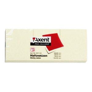Блок бумаги с липким слоем Axent 2311-01-A, 50x40 мм, 100 листов, пастельный жёлтый