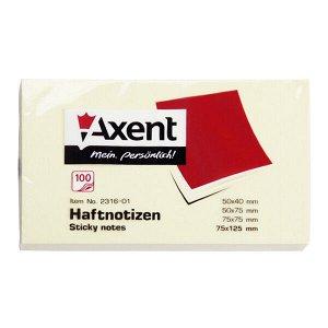 Блок бумаги с липким слоем Axent 2316-01-A, 75x125 мм, 100 листов, пастельный жёлтый