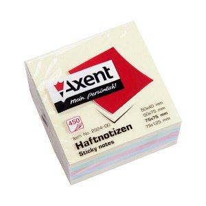 Блок бумаги с липким слоем Axent 2324-00-A, 75x75 мм, 450 листов, пастельные цвета