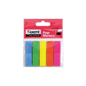 Закладки пластиковые Axent 2440-01-A, 5х12х50 мм, 125 штук, неоновые цвета