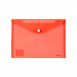 Папка на кнопке Axent 1522-24-A, A5, прозрачная, красная